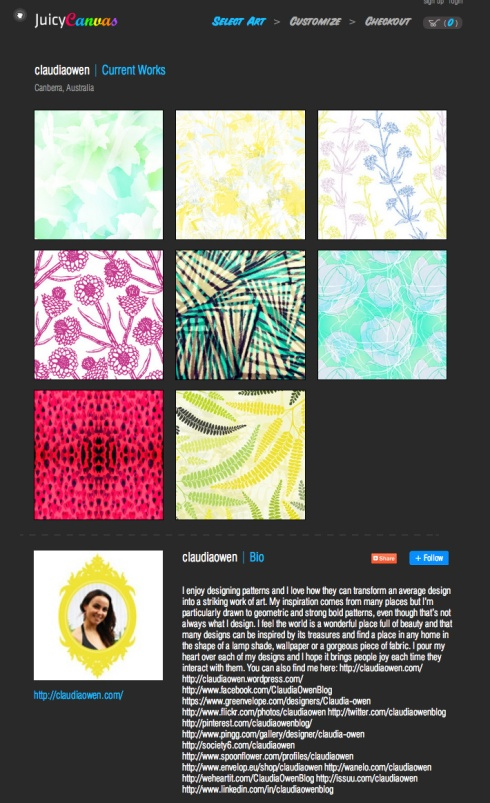 Claudia Owen Juicy Canvas profile page